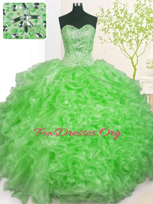 Elegant Lace Up Sweetheart Beading and Ruffles and Pick Ups Sweet 16 Quinceanera Dress Organza Sleeveless