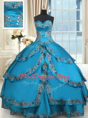 Traditional Blue Ball Gowns Beading and Embroidery and Ruffled Layers Sweet 16 Dress Lace Up Taffeta Sleeveless Floor Length