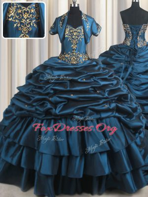 Pick Ups With Train Navy Blue 15 Quinceanera Dress Sweetheart Sleeveless Brush Train Lace Up