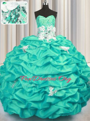 Extravagant Sequins Pick Ups Brush Train Ball Gowns Ball Gown Prom Dress Turquoise Sweetheart Taffeta Sleeveless With Train Lace Up