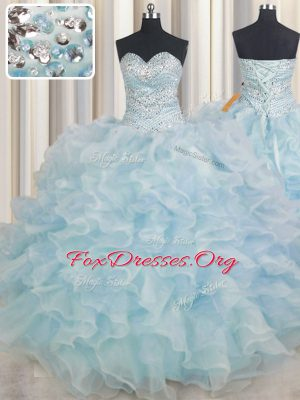 Light Blue 15 Quinceanera Dress Military Ball and Sweet 16 and Quinceanera and For with Beading and Ruffles Sweetheart Sleeveless Lace Up