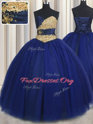 Custom Design Navy Blue Sweetheart Lace Up Beading and Appliques 15th Birthday Dress Sleeveless