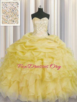 Sleeveless Organza Floor Length Lace Up Quinceanera Gown in Light Yellow with Beading and Ruffles