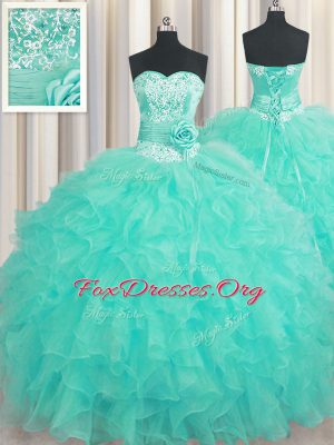 Most Popular Handcrafted Flower Aqua Blue Organza Lace Up Vestidos de Quinceanera Sleeveless Floor Length Beading and Ruffles and Hand Made Flower