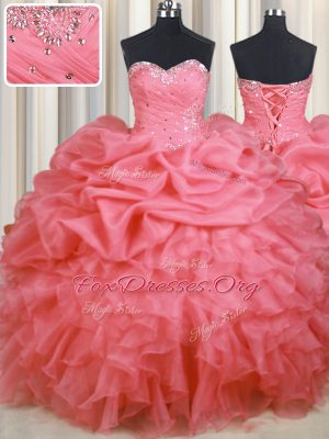 Beading and Ruffles and Ruching and Pick Ups Quinceanera Dress Watermelon Red Lace Up Sleeveless Floor Length
