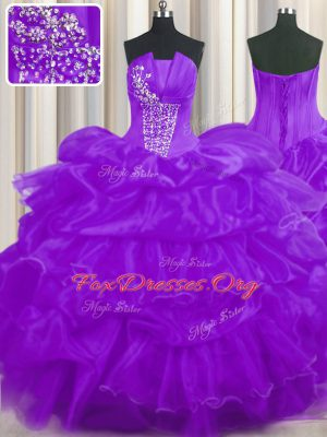 Spectacular Organza Strapless Sleeveless Lace Up Beading and Ruffled Layers and Pick Ups Quinceanera Dress in Purple