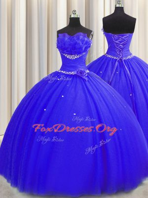 Handcrafted Flower Floor Length Royal Blue Sweet 16 Quinceanera Dress Strapless Sleeveless Lace Up
