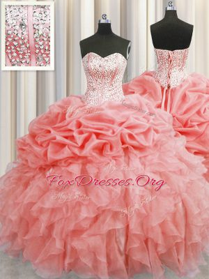 Visible Boning Watermelon Red Sleeveless Ruffles and Pick Ups Floor Length Quinceanera Gown
