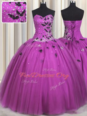 Charming Floor Length Fuchsia 15th Birthday Dress Tulle Sleeveless Beading and Appliques