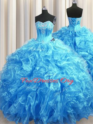 Best Baby Blue Sleeveless Beading and Ruffles Lace Up Quinceanera Gown