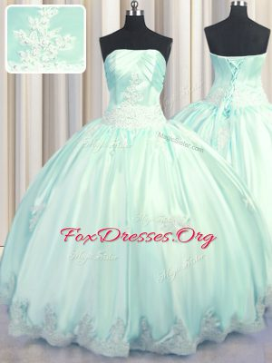 Inexpensive Taffeta Strapless Sleeveless Lace Up Beading and Appliques Sweet 16 Dress in Apple Green