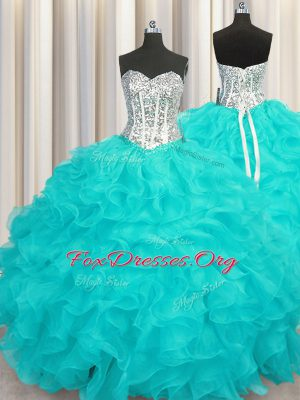 Floor Length Ball Gowns Sleeveless Aqua Blue Vestidos de Quinceanera Lace Up
