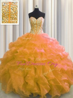 New Arrival Visible Boning Floor Length Orange Sweet 16 Quinceanera Dress Organza Sleeveless Beading and Ruffles