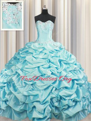 Perfect Brush Train Aqua Blue Ball Gowns Beading and Pick Ups Quince Ball Gowns Lace Up Taffeta Sleeveless