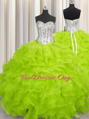 Unique Sleeveless Beading and Ruffles Lace Up Sweet 16 Dresses