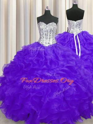 Excellent Purple Sleeveless Organza Lace Up Quinceanera Gown for Military Ball and Sweet 16 and Quinceanera