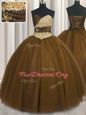 Amazing Brown Ball Gowns Sweetheart Sleeveless Tulle Floor Length Lace Up Beading and Appliques and Ruching and Belt 15 Quinceanera Dress