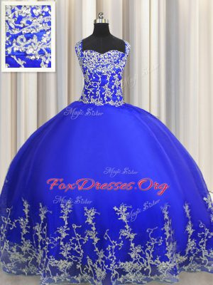 Halter Top Royal Blue Sleeveless Floor Length Beading and Appliques Lace Up Quinceanera Dresses
