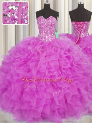 Visible Boning Sleeveless Floor Length Beading and Ruffles Lace Up Vestidos de Quinceanera with Fuchsia