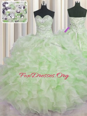 Beading and Ruffles 15th Birthday Dress Green Lace Up Sleeveless Floor Length