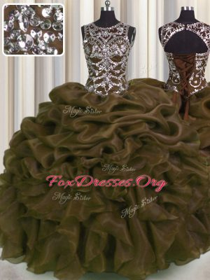 Deluxe See Through Floor Length Lace Up Quinceanera Gowns Brown for Military Ball and Sweet 16 and Quinceanera with Beading and Pick Ups