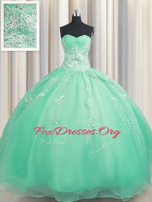 Zipper Up Sweetheart Sleeveless Ball Gown Prom Dress Floor Length Beading and Appliques Apple Green Organza