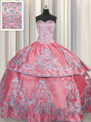 Colorful Rose Pink Lace Up Sweetheart Beading and Embroidery Ball Gown Prom Dress Taffeta Sleeveless