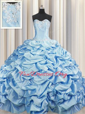 Flare Pick Ups Brush Train Sweep Train Ball Gowns Ball Gown Prom Dress Baby Blue Sweetheart Taffeta Sleeveless Lace Up