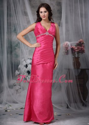 V-neck Hot Pink Column Beading Discount Prom Gown
