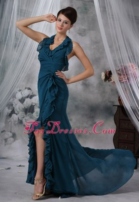 Halter Sexy High Slit Green Prom Evening Dress For 2013