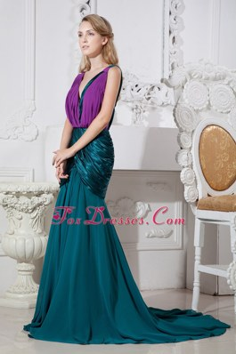 Green and Purple V-neck Mermaid Ruching Chiffon Prom Dress