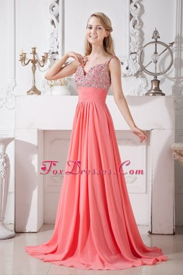 Watermelon Red Spaghetti Straps Beading Prom Evening Dress