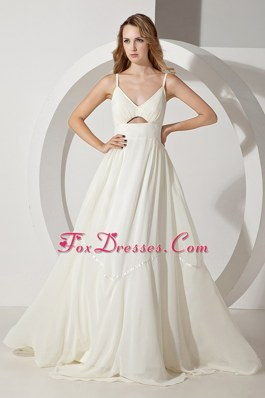 Spaghetti Straps White Perfect Empire Chiffon Prom Dress