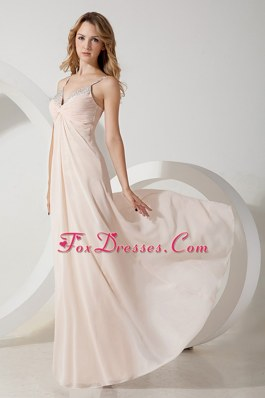 Beaded Decorate Shoulder Long Chiffon Prom Evening Dress