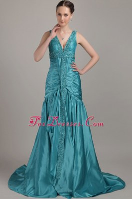 V-neck Teal Beading and Ruching A-line Discount Prom Evening Dress