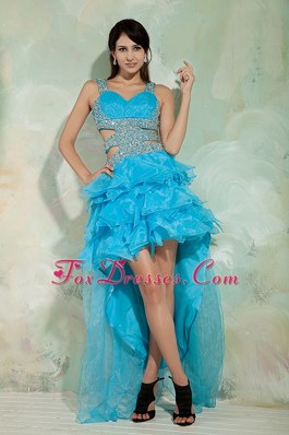 Sky Blue Prom Dress Princess Straps High-low Ruffles