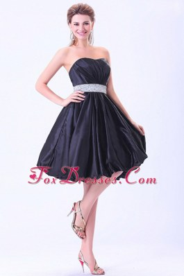 Beading Strapless Navy Blue A-line Cocktail Dress Knee-length