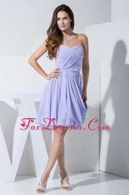 Beautiful Ruching Knee-length Lilac Dama Dress For 2013