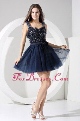 Navy Blue Short Prom Dress A-line Mini-length Backless