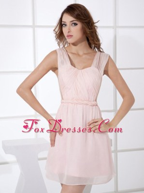 Short Baby Pink Chiffon Homecoming Dresses Mini-length