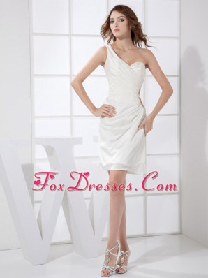 White Prom Cocktail Dress One Shoulder Mini-length Column