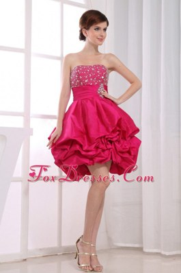 Ball Gown Beading Mini-length Hot PinkStrapless Prom Cocktail Dress