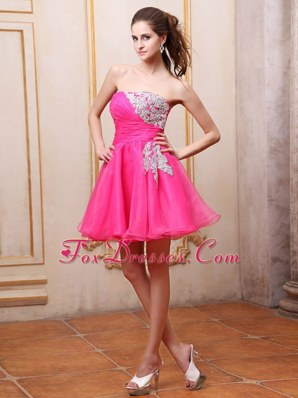 Short Hot Pink Prom Cocktail Dress Appliques Mini-length