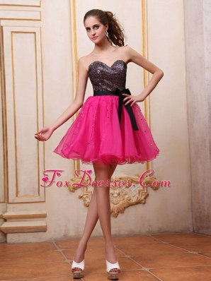 Hot Pink Short Prom Dress With Sequin and Black Bowknot