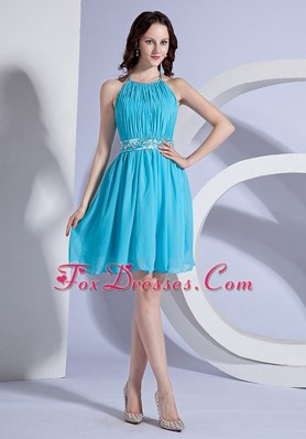 Short Beading Ruching Halter Aqua Blue 2013 Prom Dress