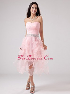 Baby Pink Short Prom Dress Beading Sweetheart Ruffles 2013