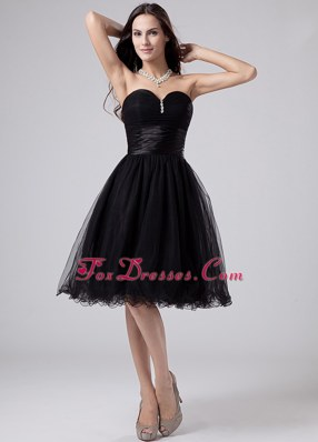 Black Sweetheart 2013 Short Prom Gowns Beading Ruching Organza