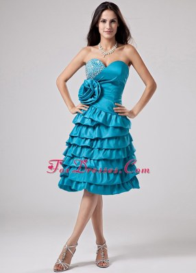 Short Prom Dress Sweetheart Ruffled Layeres Hand Made Flower