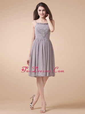 Short Spaghetti Straps Grey Prom Dress Beading Knee-length
