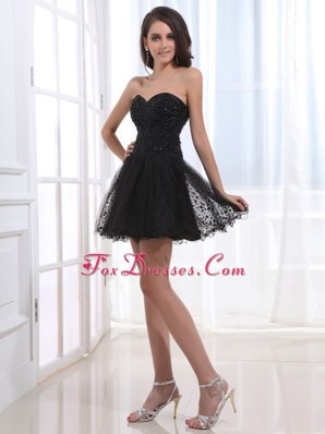 Short Black Beading and Sweetheart Prom Dress With Tulle